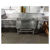 """SS 2-Comp Sink, Approx 91"""" x 32"""" w/ Lever Dumps"""