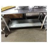 "SS Table, Approx 60"" x 24"" w/ Undershelf"