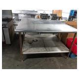 "SS Table, Approx 60"" x 60"" w/ Undershelf"