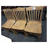 5x Light Wood Grained Slat Back Dining Chairs