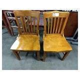 2x Wood Grained Slat Back Dining Chairs **Some