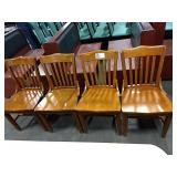 8x Wood Grained Slat Back Dining Chairs **Some