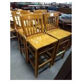 4x Wood Grained Slat Back Bar Chairs **Some