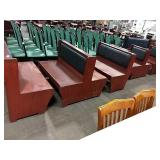 4x Sections Cherry Wood Booth Seating w/ Black