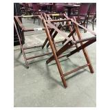 1 Lot 3 Brown Wood Infant Sling Chairs