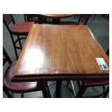 Wood Bar Height Table w/ Single Round Black Base,