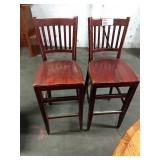 2x Wood Slat Back Bar Chairs, Seat Height Approx
