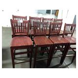 8x Wood Slat Back Bar Chairs, Seat Height Approx