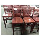 7x Wood Slat Back Bar Chairs, Seat Height Approx