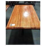 Rect. Wood Dining Table w/ Black 4-Spoke Base &
