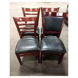 4x **Asst** Cherry Wood Framed Dining Chairs: (3)