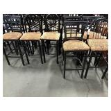 1 Lot 7 Black Metal Frame w/ Paisley Cloth Seat