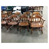 1 Lot 7 Armed Wood Frame Dining Chairs