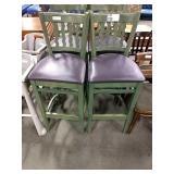 1 Lot 4 Green Wooden Bar Chairs w/ Purple Seats