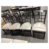 4x Metal Window Framed Dining Chairs w/
