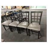 6x Metal Window Framed Dining Chairs w/