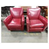 1 Lot 2 Red Vinyl Arm Chairs