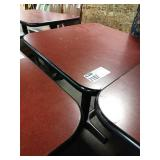 """Brick Red Laminate 24"""" Square Dining Table w/"""