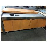 """Maple 3-Cabinet Counter w/ Trash Hole, Approx 84"""""""