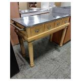 Maple 4-Drawer Console Table w/ SS Top, Approx