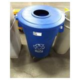 Blue 44-Gal Recycle Can w/ Lid & Dolly