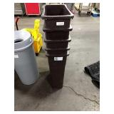 1 Lot 5 Brown Rect Trash Cans