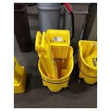 Rolling Rubbermaid Mop Bucket w/ Wringer & 2 Wet