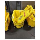 Rolling Rubbermaid Mop Bucket w/ 2 Wet Floor Signs