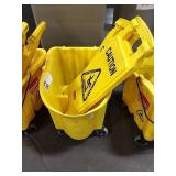 Rolling Rubbermaid Mop Bucket 2 Wet Floor Signs