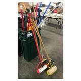 1 Lot 2 Green Trash Cans, Wet Floor SIgns, Long