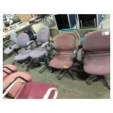 1 Lot 5 Asst Rolling Office Chairs: (2) Purple,