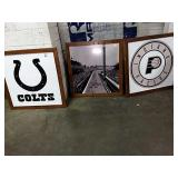1 Lot Colts Sign, Pacers Sign & IMS Photgraph,