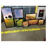 1 Lot 10 Black Framed Canvas Farm Landscape