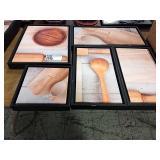 1 Lot 5 Black Framed Kitchen Still Life Canvases