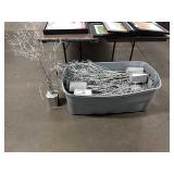 1 Lot Tub Silver Spray Painted Trees, Approx 10