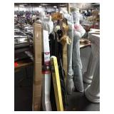 1 Lot Rolls Fabric, Drapery Rods, Easel Stand