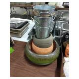 1 Lot 5 Asst Vases & Planters: 2 Galvanized, 3