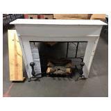 1 Lot Fireplace Mantel w/ Log & Iron Work