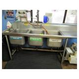 Stainless Steel Three Compartment Sink with Grease