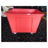 Large Orange Plastic Roll-A-Round Trash Bin