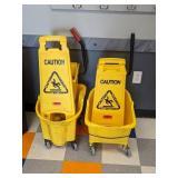 Mop Buckets with wet floor signs