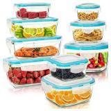 KICHLY [18-Pieces] Glass Food Storage Containers w