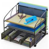 SimpleHouseware Desk Organizer 3 Tray w/Sliding Dr