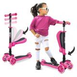 NIDB 3 Wheeled Scooter for Kids - 2-in-1 Sit/Stand