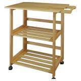 Casual Home Trek Folding Natural Kitchen Cart