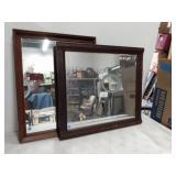 "(2) Wood Framed Mirrors 25""x19"" & 23""x25"""
