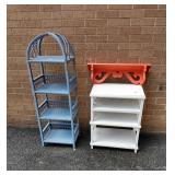 Wicker & Painted Stand & Shelf