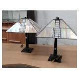 Pr. deco style table Lamps w/leaded shades