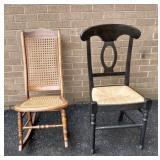 Cane Seat Rocker & Rush Seat Chair,