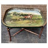 Fox Hunt Scene Tray with Stand